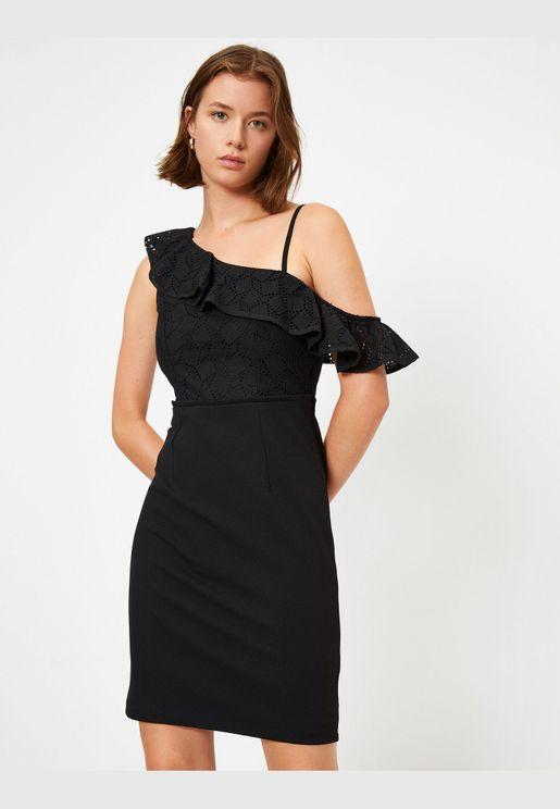 One Shoulder Lace Mini Dress