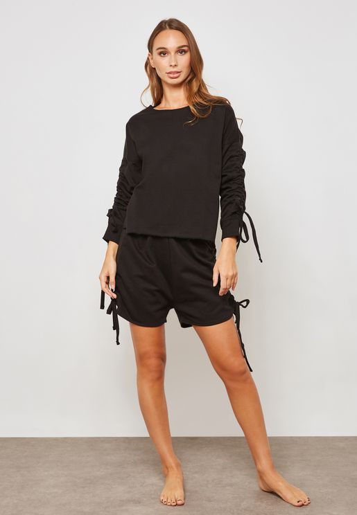 Ruched Long Sleeve Top & Shorts Set