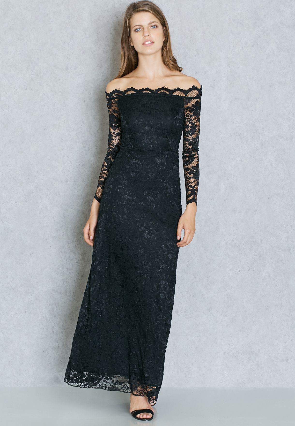 8423197a76d Shop Ella black Lace Bardot Maxi Dress for Women in UAE - EL314AT48ONN