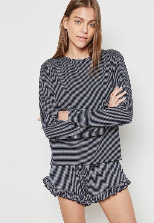 Striped Pyjama Shorts Set