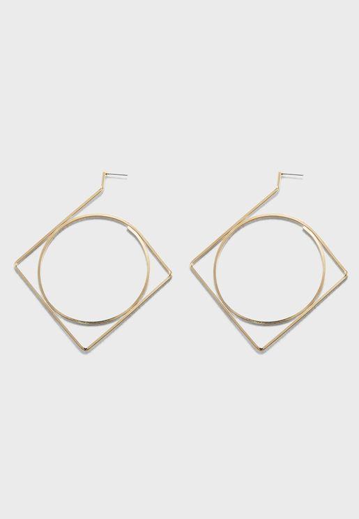 Geo Hoop Drop Earrings