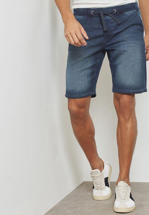 Akm Washed Denim Shorts