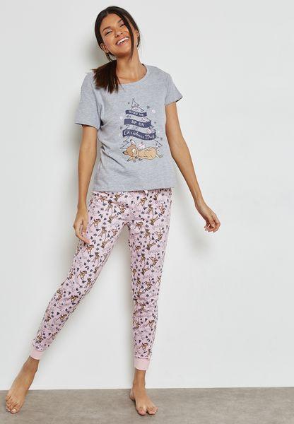 Slogan T-Shirt & Pyjama Set