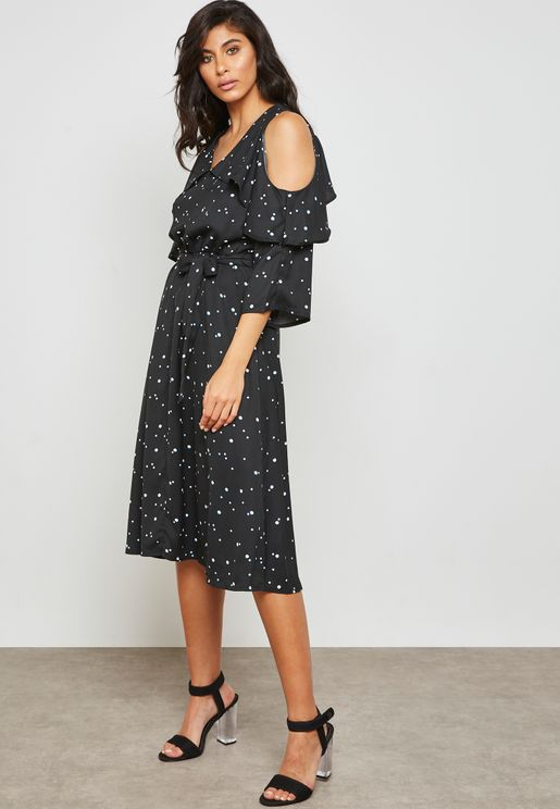 Tie Waist Polka Dot Dress