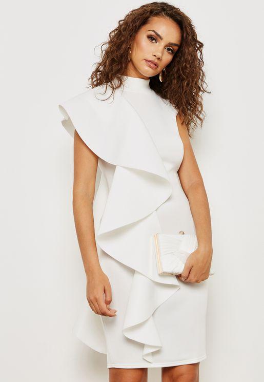 One Side Ruffle Dress