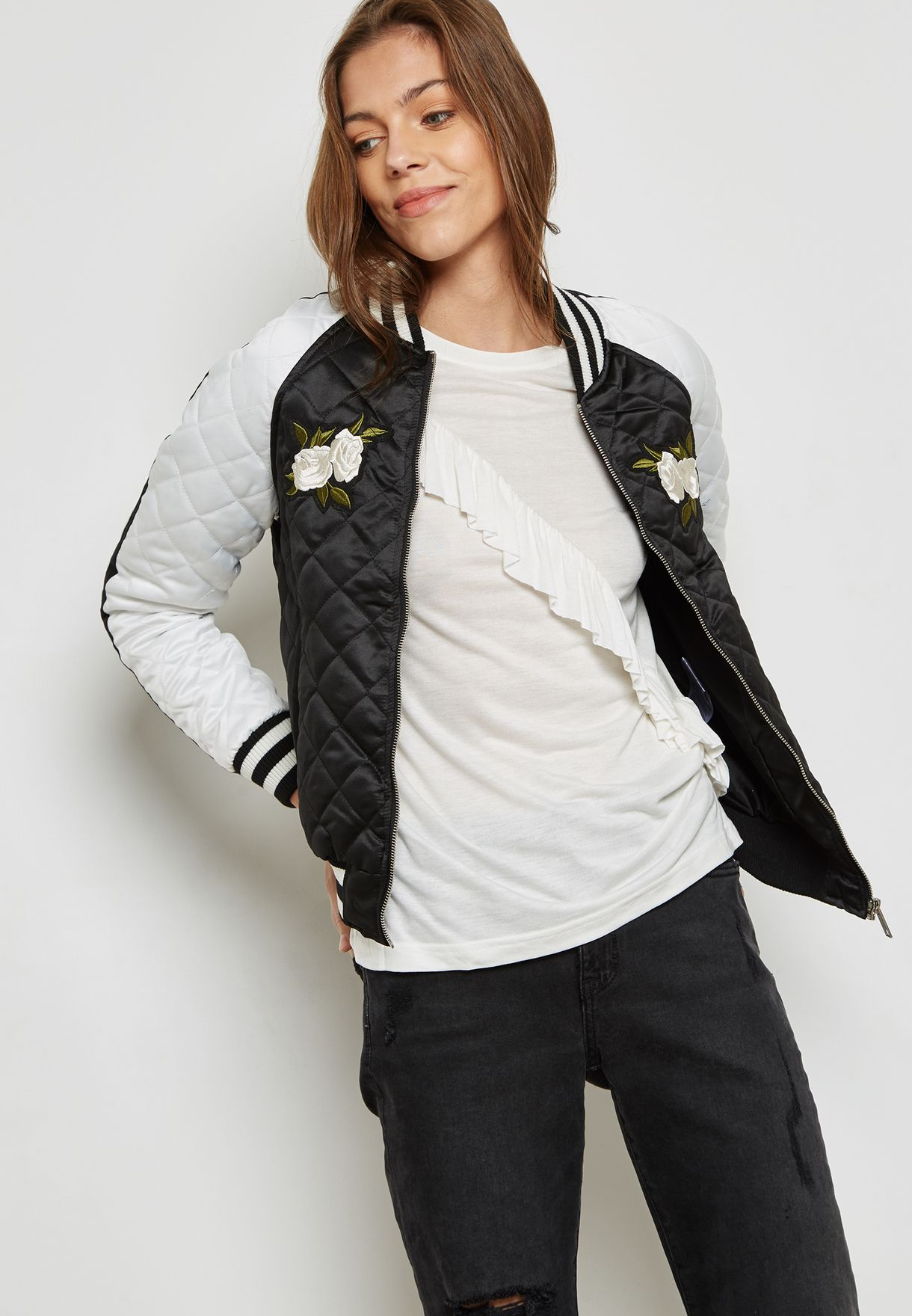 b1f8af4ca8 Embroidered Quilted Bomber Jacket