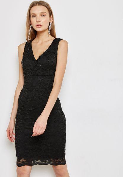 Scallop Sequin Bodycon Dress