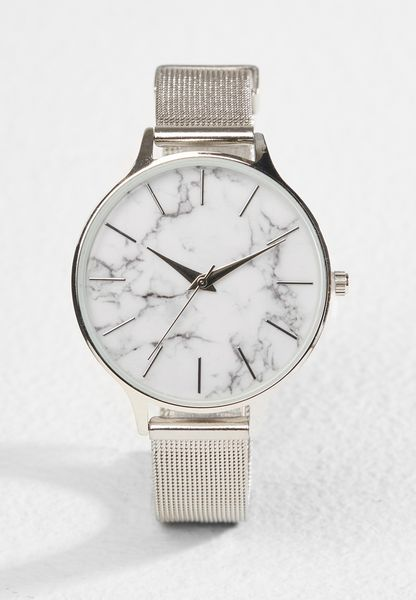 Marble Dial Mesh Watch