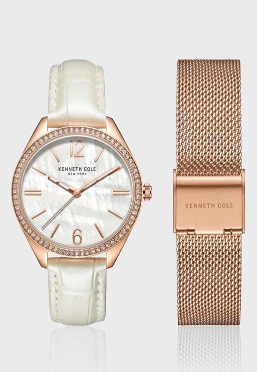 كينيث كول طقم ساعة بسوار جلدي للنساء - KC50989001