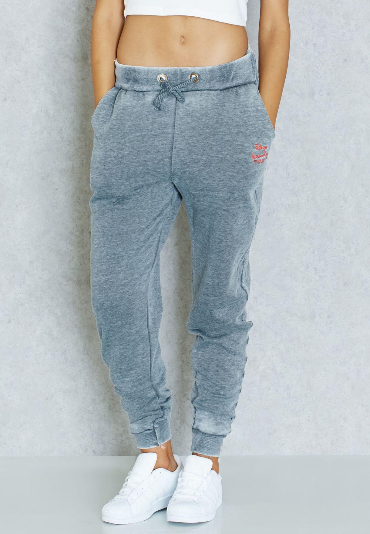 Shop Tokyo laundry grey Tie Waist Logo Sweatpants for Women in UAE ... 11033015eb8