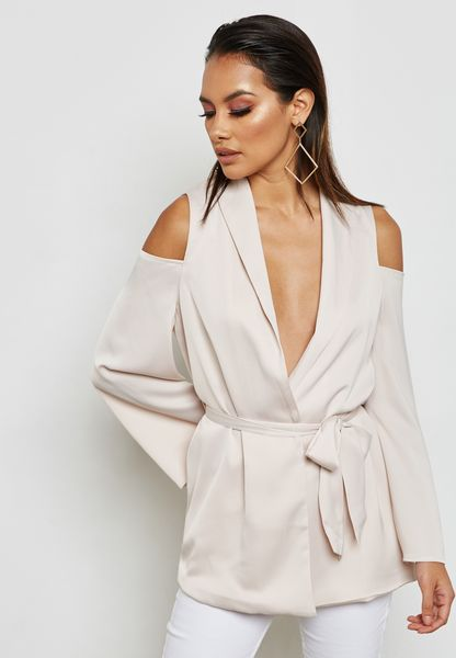 Tie Waist Cold Shoulder Blazer