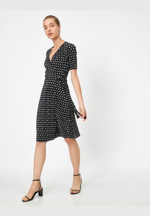 Short Sleeve Patterned Mini Wrap Dress