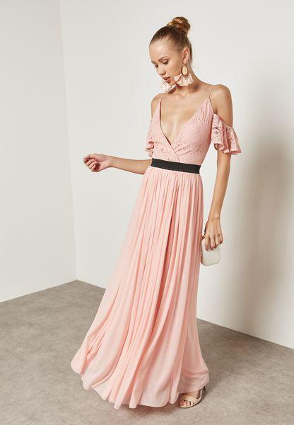 Cold Shoulder Pleated Plunge Lace Dress
