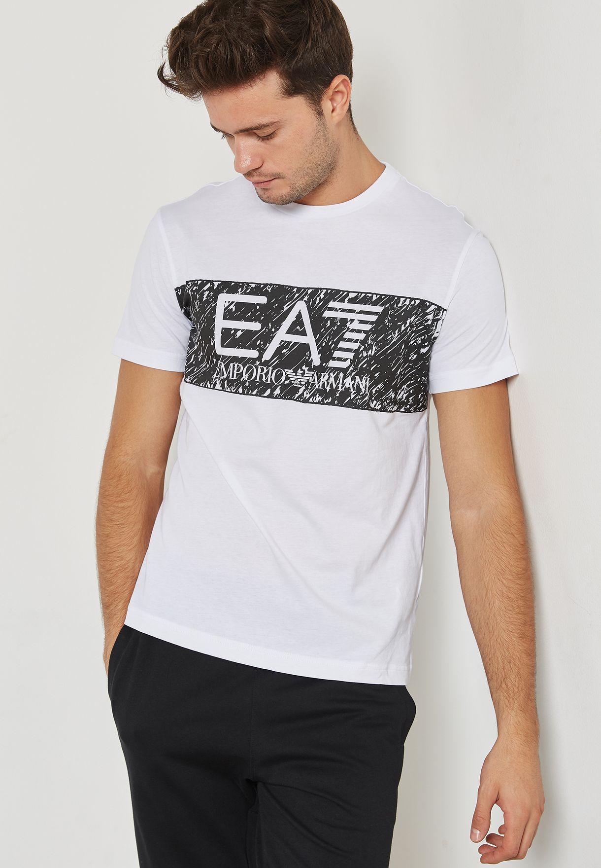 9e9f936e63 Shop Ea7 Emporio Armani white Train Logo T-Shirt PJ02Z-6YPT82-1100 ...