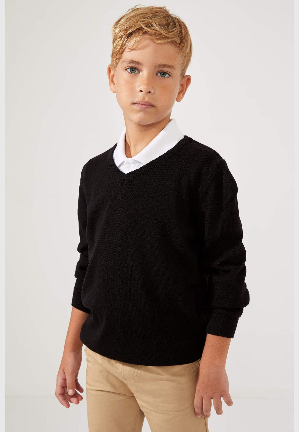 Boy Regular Fit V Neck Pullover
