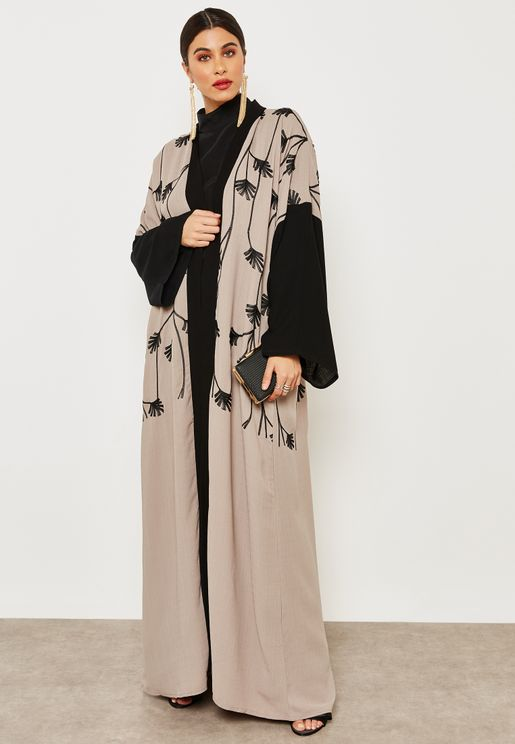 Contrast Sleeve Embroidered Abaya