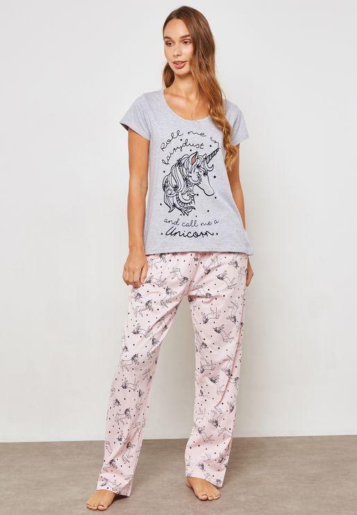 Unicorn Print Pyjama Set