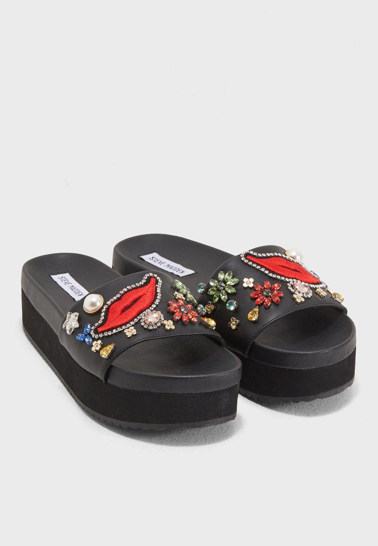 28bfa24a3f0 Shop Steve Madden black Adorn Flat Sandals ADORN for Women in Oman ...