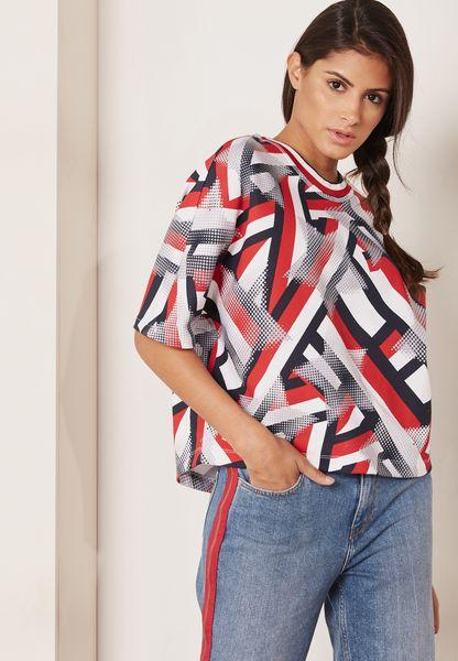 Back Split Printed Sweater