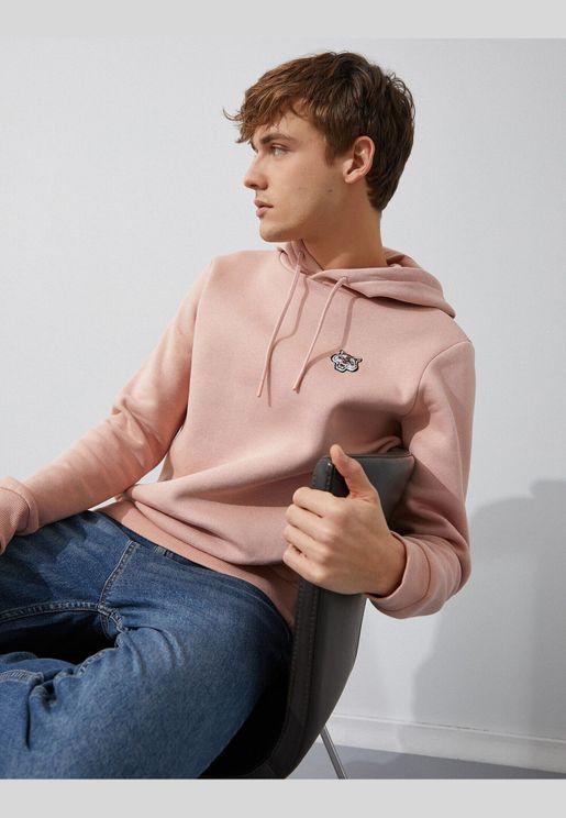 Hooded Embellished Long Sleeve Sweatshirt