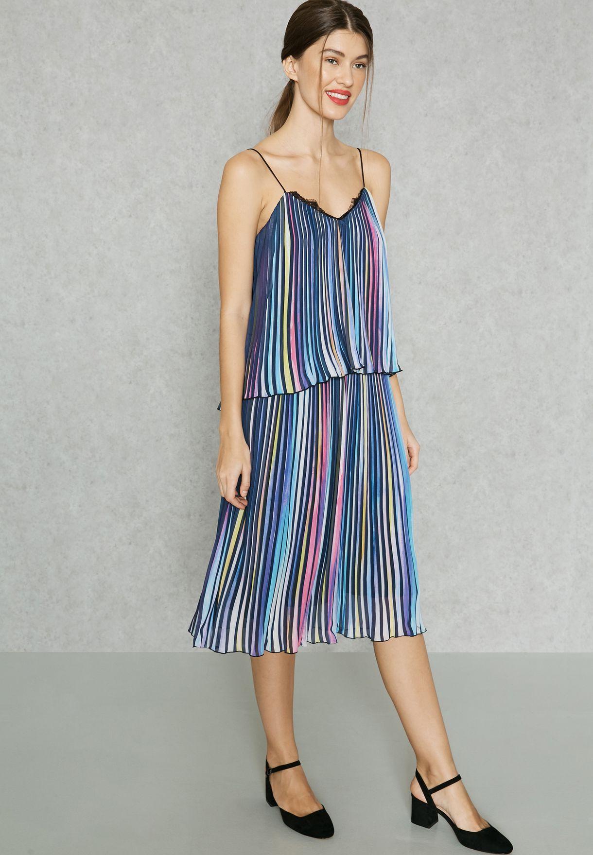327d6b038e Shop Little White Lies multicolor Pleated Rainbow Stripe Overlay ...