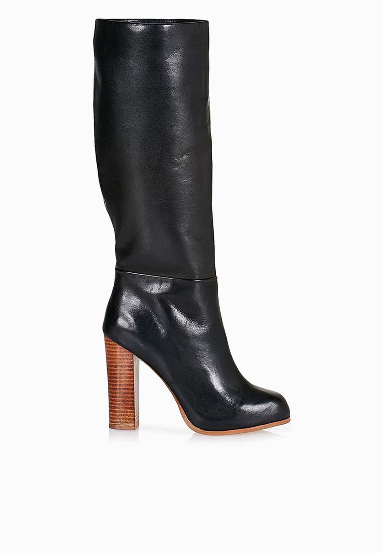 7afb5315dd1 Shop Aldo black Celona Chunky Heel Knee Boots for Women in UAE ...