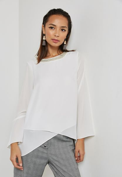 Embellished Neck Layered Top