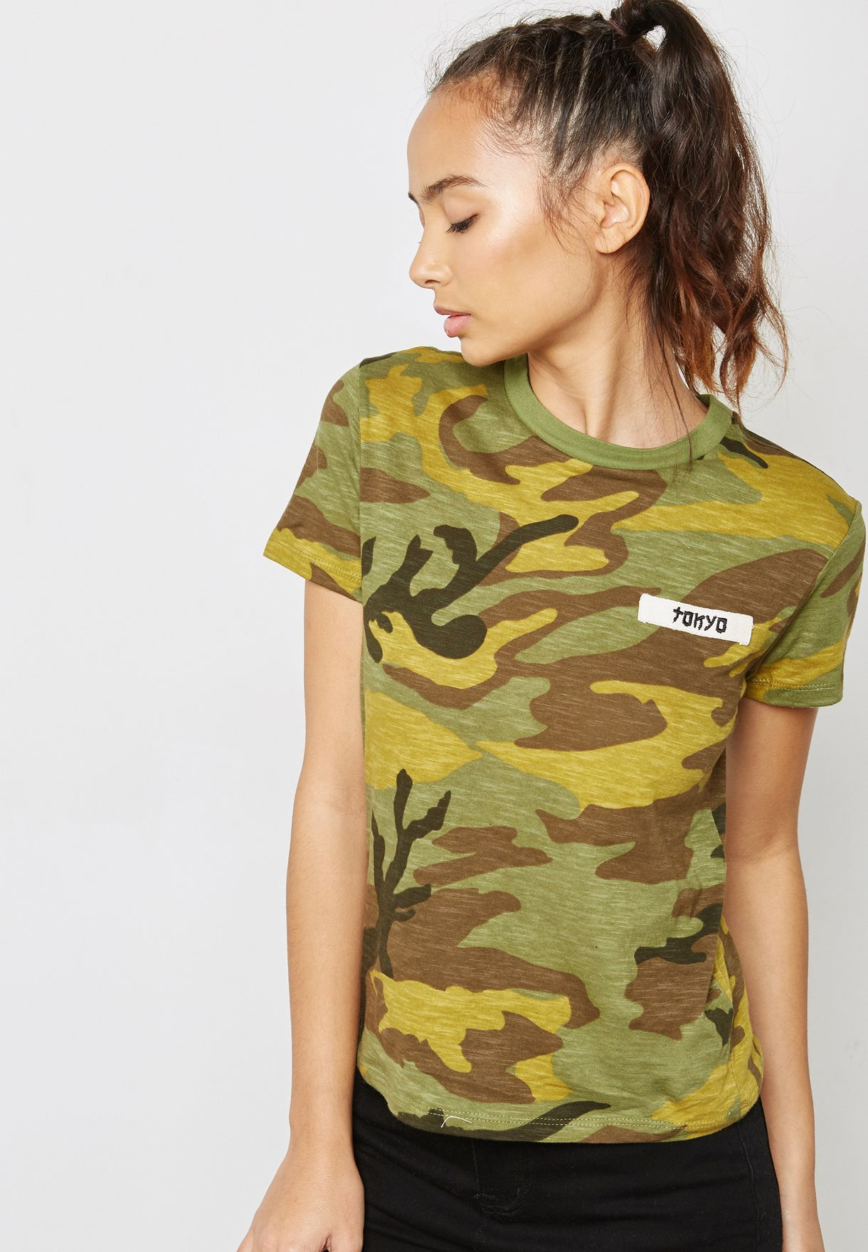 5fc8d30ef82a Shop Forever 21 prints Slogan Camo Print T-Shirt 159775 for Women in ...