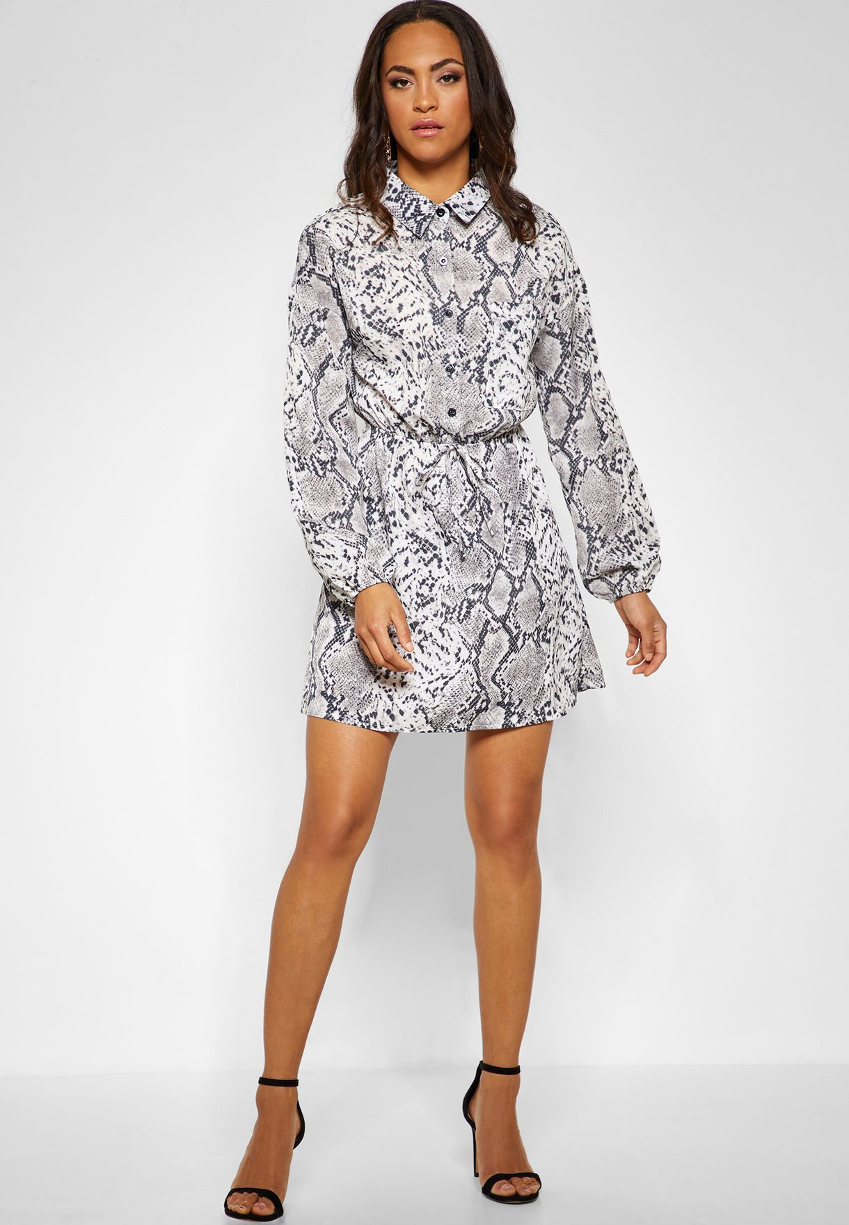 Tie Waist Snake Print  Mini Dress