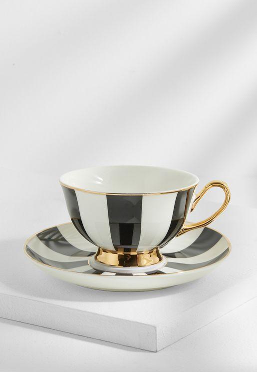 Stripy Teacup And Saucer