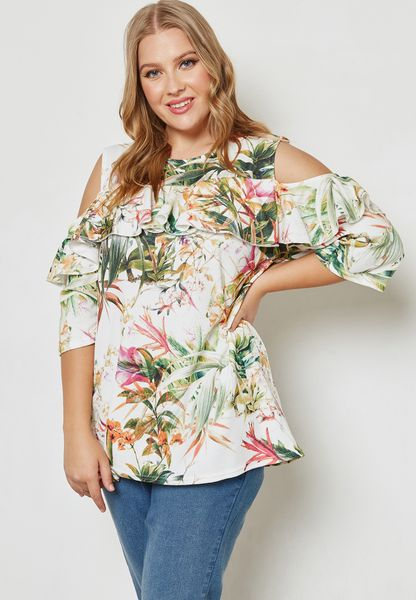 Floral Print Ruffle Cold Shoulder Top