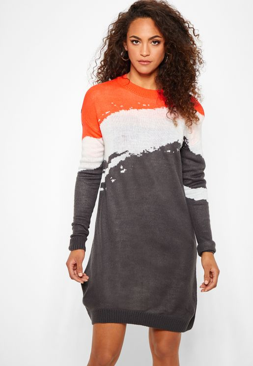 Colourblock Sweater Dress