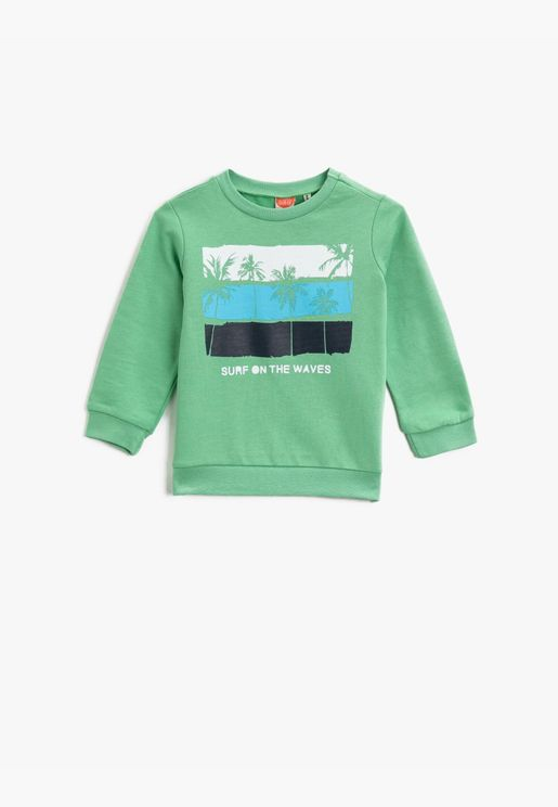 Printed Cotton Crew Neck Long Sleeve T-Shirt