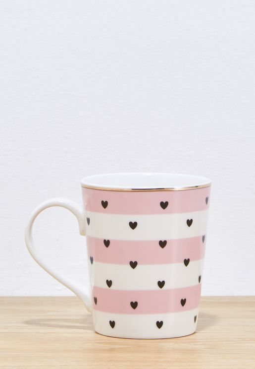 Stripe Hearts Coffee Mug