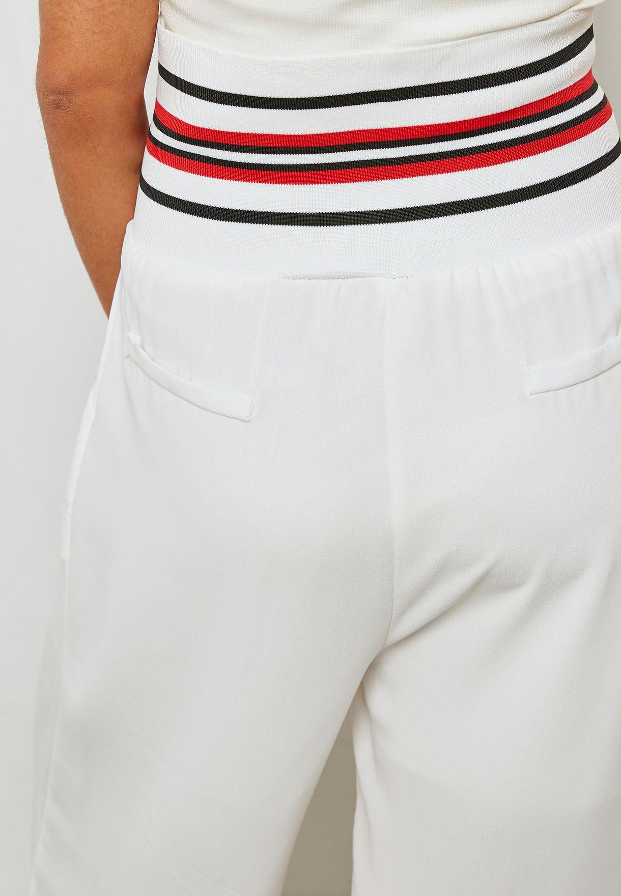 Contrast Waist Wide Leg Pants