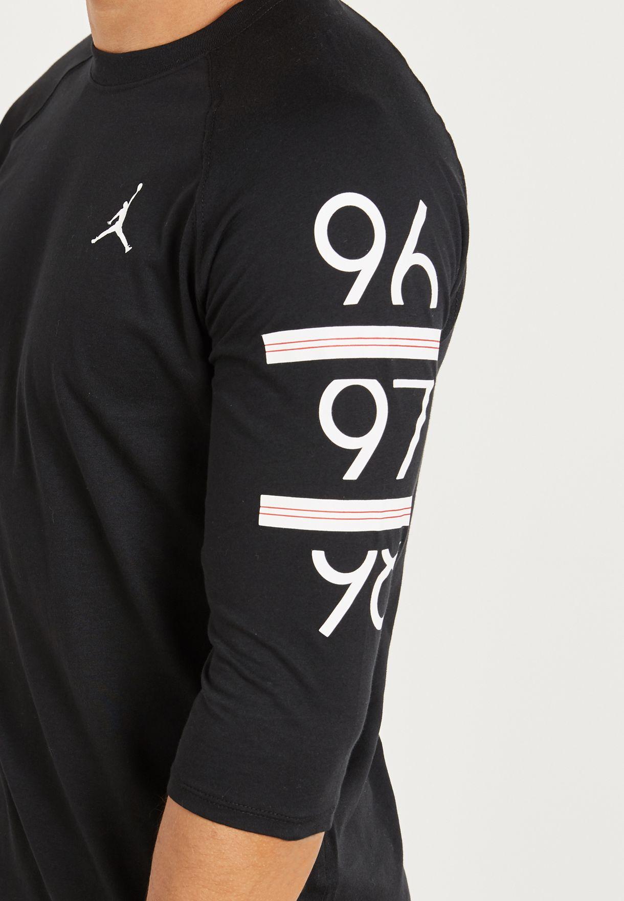 3f27e72b0e2 Shop Nike black Jordan 6 Times 3/4 Raglan T-Shirt 862423-010 for Men ...