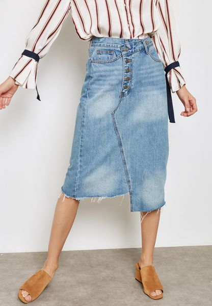 Asymmetric Button Denim Skirt