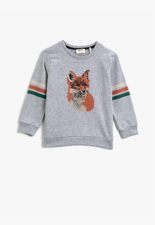 Crew Neck Animal Figured Embellished Long Sleeve Sweatshirt