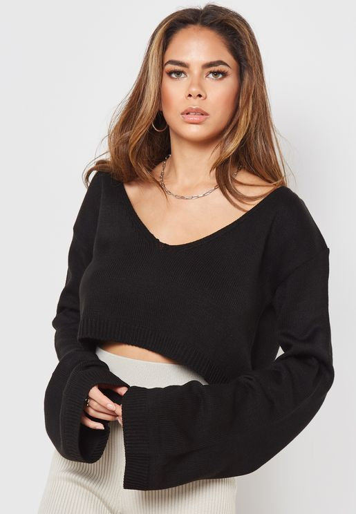V-Neck Wide Sleeve Cropped Sweater