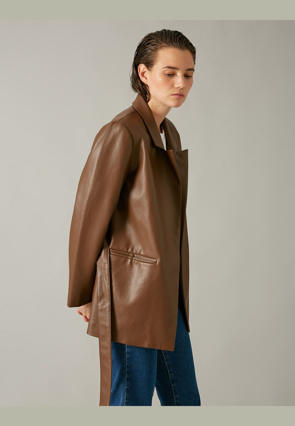 Belted Leather Look Jacket