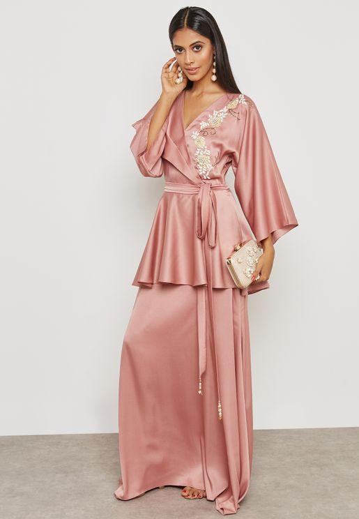 Embellished Self Tie Peplum Dress
