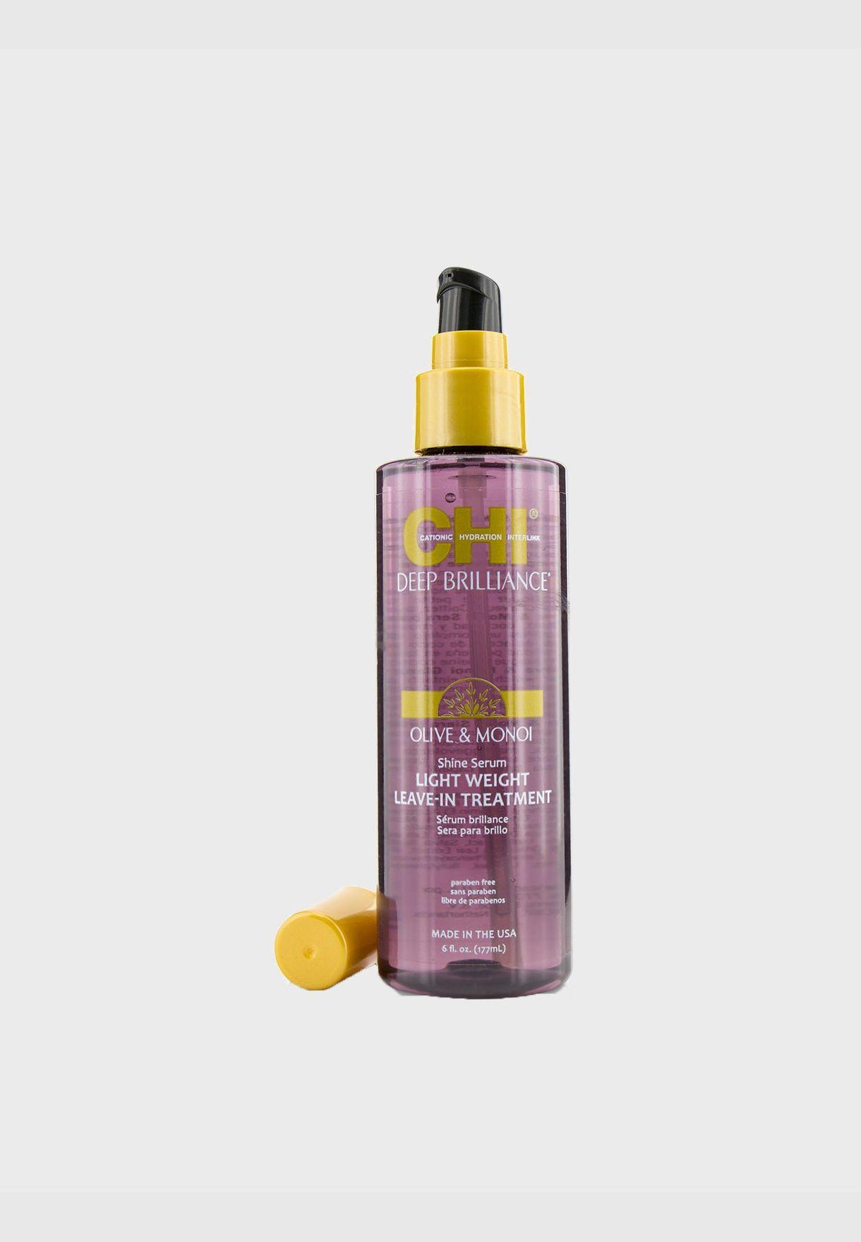 Deep Brilliance Olive & Monoi Shine Serum Light Weight Leave-In Treatment