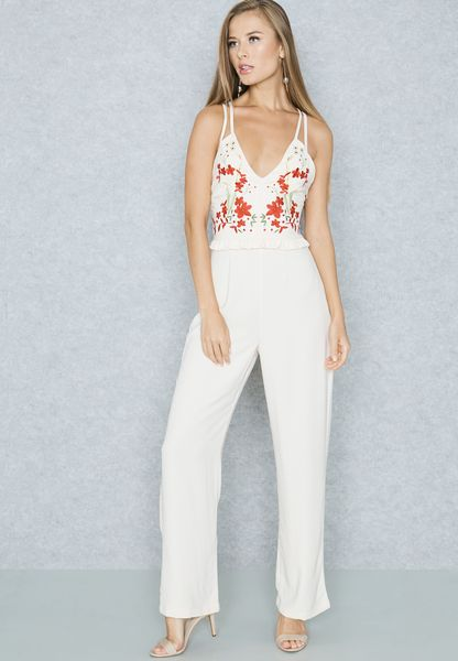 Embroidered Ruffle Jumpsuit