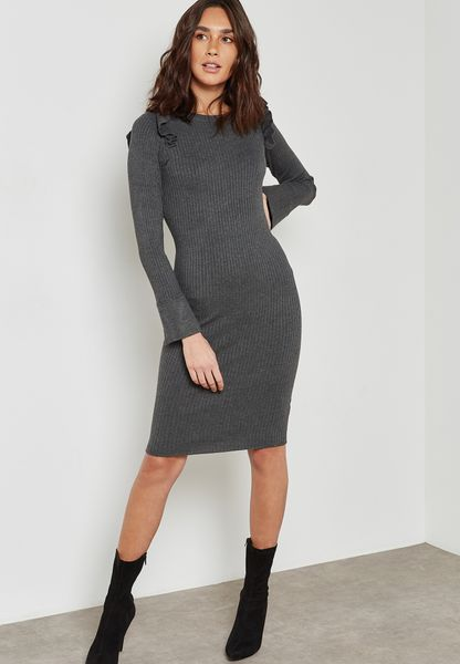 Ruffle Shoulder Ribbed Bodycon Dress