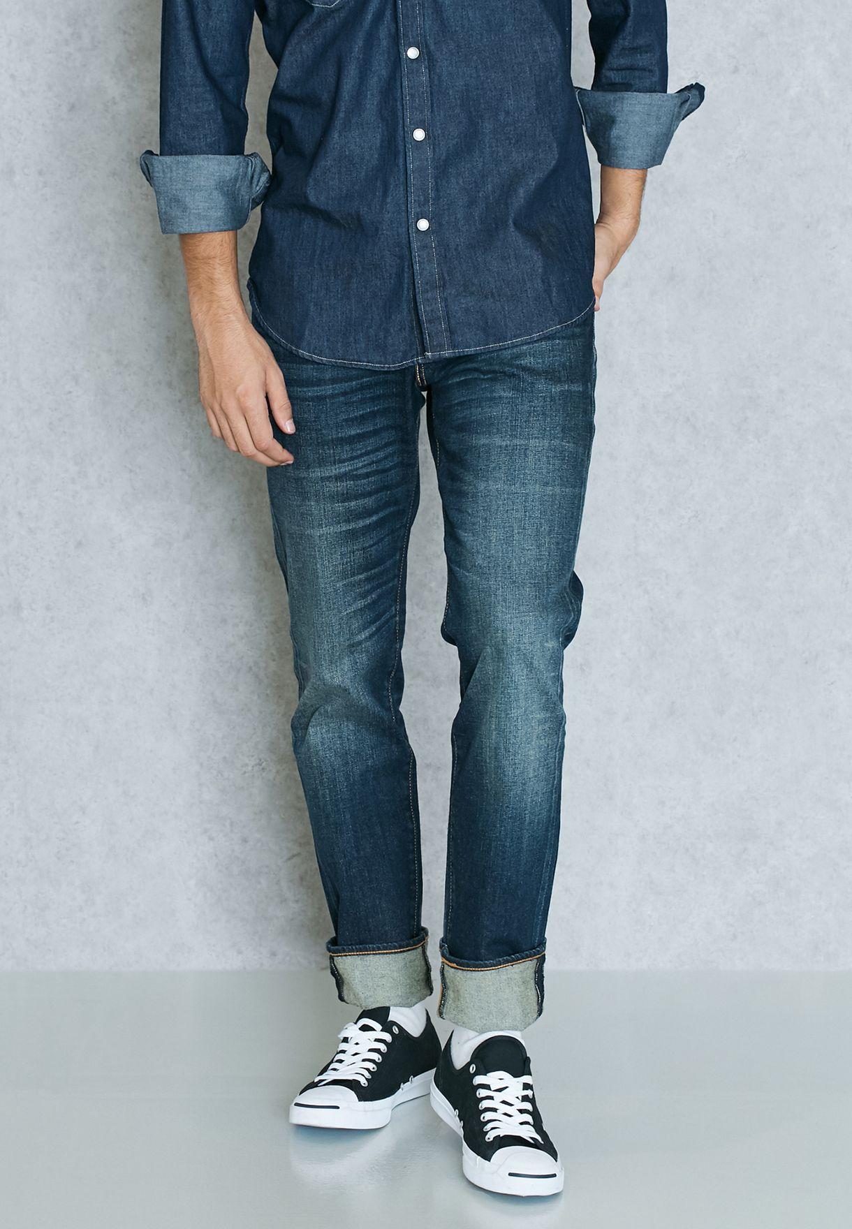 f62c1222fd Shop Levis blue Slim Fit Dark Wash Jeans 00511-1400 for Men in UAE ...
