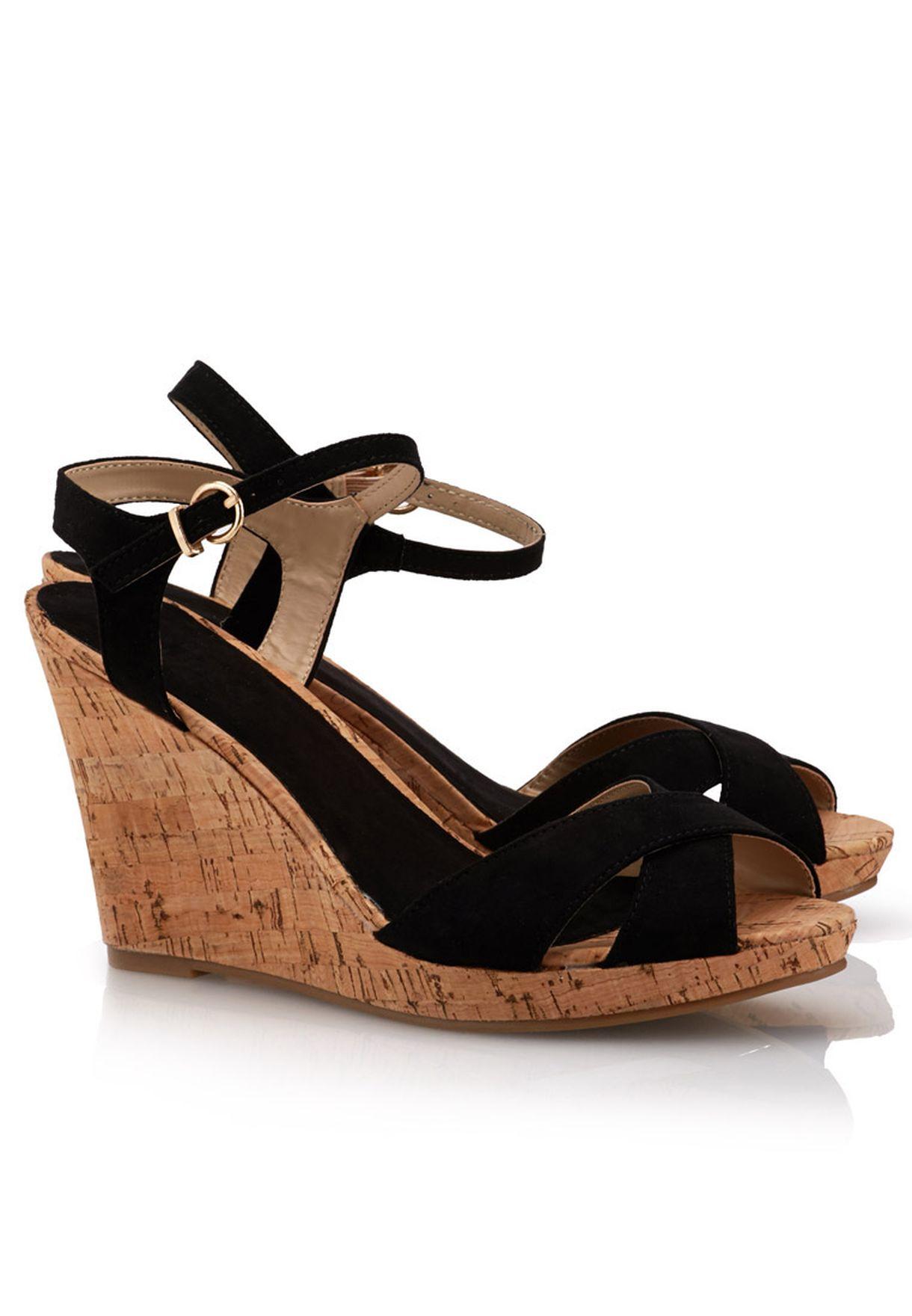 96830daddfe Shop Bellucci black Cork Heel Sandals for Women in Bahrain ...