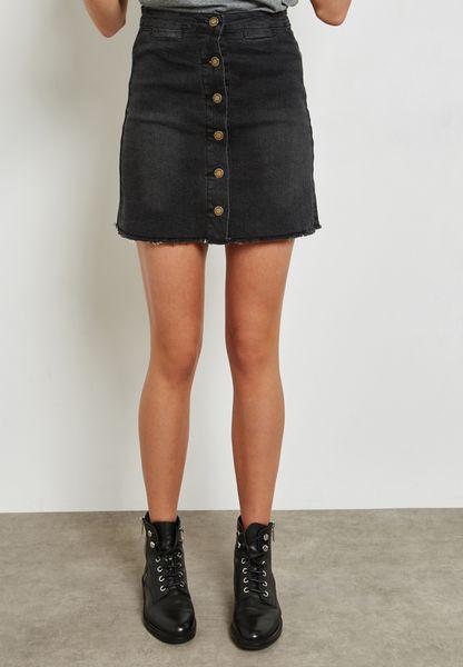 Button Front Raw Hem Denim Skirt
