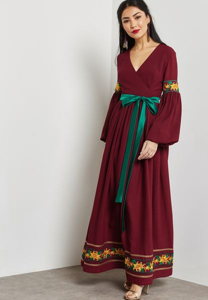 Embroidered Wrap Front Self Tie Dress