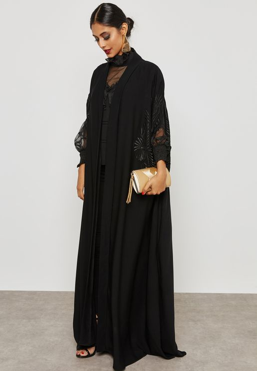 Embroidered Sleeve Cape Abaya