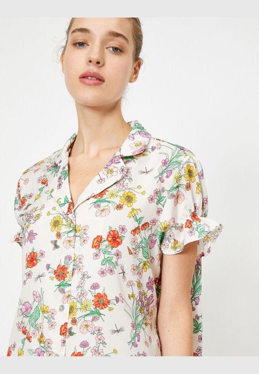 Flower Patterned Frill Detailed Short Sleeve Pyjamas Top